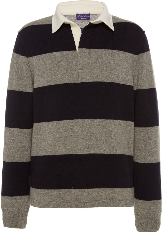 Ralph Lauren Purple Label Striped Rugby Cashmere Top
