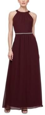 SL Fashions Embellished-Waist Halter Gown