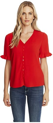 CeCe 3/4 Sleeve Ruffled Button Down Blouse (Candy Apple) Women's Clothing