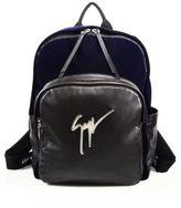 Giuseppe Zanotti Velvet & Leather Logo Backpack