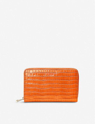 Aspinal of London Continental Clutch croc-embossed leather purse
