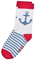 Melton Pearl Grey Melange Anchor Socks