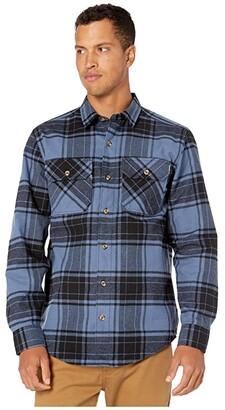 Timberland Woodfort Heavyweight Flannel Work Shirt (Vintage Indigo/Black Check) Men's Clothing