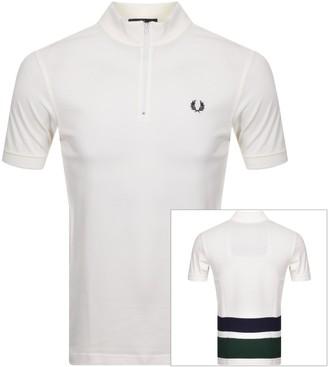 Fred Perry Stripe Zip Neck Polo T Shirt White