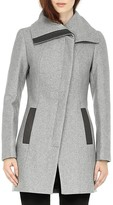 Soia and Kyo Jana Asymmetrical Front Leather Trim Coat