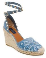Valentino Rockstud Double Denim Wedge Espadrilles