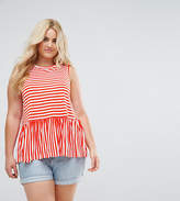 Asos Sleevless Top With Ruffle Hem In Bright Stripe