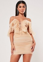 Missguided Nude Frill Mesh Ruched Strappy Mini Dress