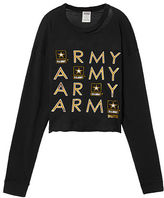PINK Army Long Sleeve Campus Cutout Tee