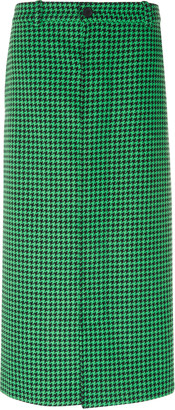 Balenciaga Houndstooth Twill Midi Skirt