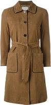 L'Autre Chose trench coat with contrast black piping - women - Suede - 40