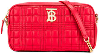 Burberry Small Leather Quilted Check Elongated Camera Bag in Bright Red | FWRD