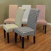 Monsoon Milan Wood and Linen Houndstooth Dining Chairs (Set of 2)