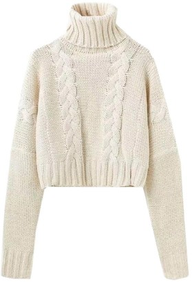 Goodnight Macaroon 'Faye' Braided Knit Cropped Turtleneck Sweater
