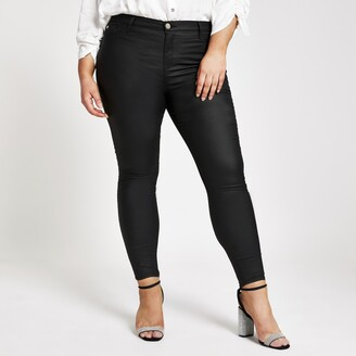 River Island Womens Plus Black Molly coated jeggings