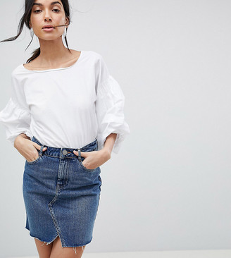 Asos DESIGN Tall denim pelmet skirt in midwash blue