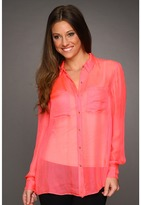 Rebecca Taylor Mesh Top (Hot Coral) - Apparel