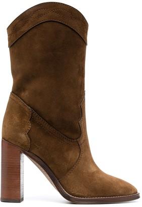 Saint Laurent Point-Toe Calf-Length Boots