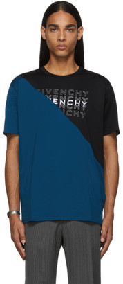 Givenchy Black and Blue Diagonal Colorblock T-Shirt