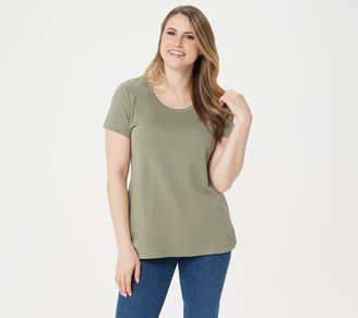 Isaac Mizrahi Live! Essentials Pima Cotton Scoop- Neck T-Shirt