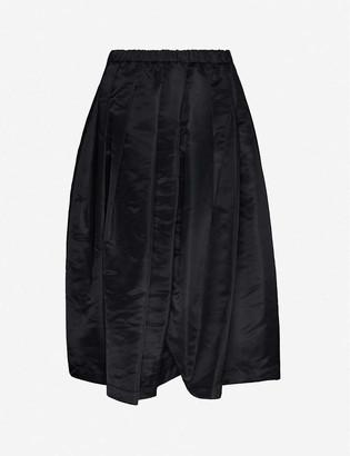 Black Comme Des Garcon Pleated high-waist shell midi skirt
