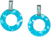 GUESS Resin Circle Drop Doorknocker Earrings (Aqua) Earring