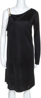 Gucci Black Knit Chain Detail Asymmetric Short Dress M
