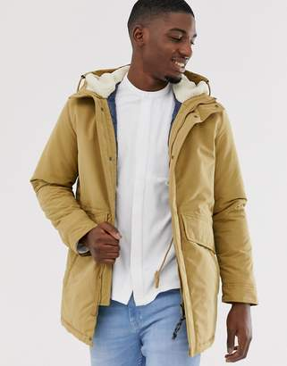 Jack and Jones stone parka with borg lining and double pockets-Beige
