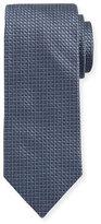 Eton Woven Dotted Circles Neat Silk Tie, Steel Blue