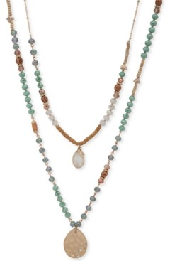 "lonna & lilly Gold-Tone Crystal & Stone Beaded 28"" Double-Row Pendant Necklace"