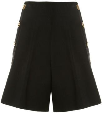 Patou High-Rise Button-Side Shorts