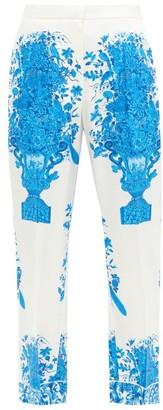 Valentino Delft-print Silk-twill Trousers - Blue White