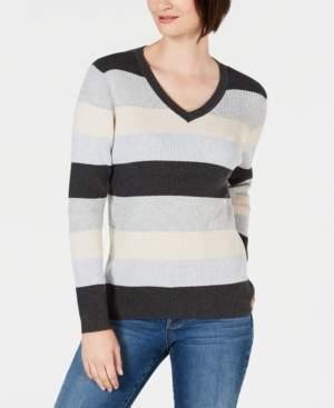 Karen Scott Colorblocked V-Neck Cotton Sweater, Created for Macy's
