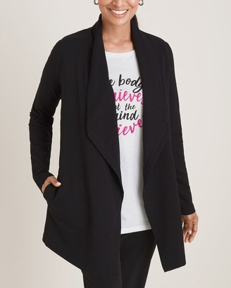 Zenergy French Terry Drape-Front Cardigan