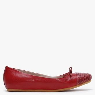 Graceful Shoes Graceful Gudule Red Leather Reptile Toe Cap Ballet Pumps
