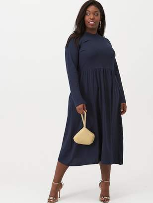 Junarose Curve Newsalisa Long Sleeved Midi Dress - Navy