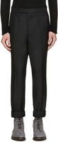 Thom Browne Black Wool Tapered Trousers