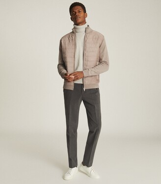 Reiss Bernardi - Quilted Ribbed-knit Jacket in Grey