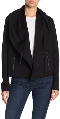Blanknyc Denim Shaw Collar Open Front Hoodie