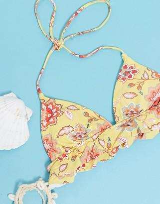 Rusty Fiori triangle bikini top in multi