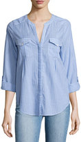 Joie Kalanchoe Striped Poplin Shirt, Blue/White