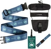Bundle Monster 4 pc Luggage Strap Bungee ID Tag Travel Accessories - Set