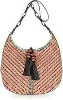 Lara elaphe-trimmed woven cord shoulder bag