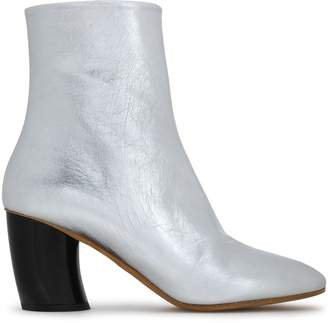 Proenza Schouler Metallic Cracked-leather Ankle Boots