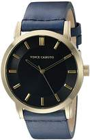 Vince Camuto Men's VC/1079BKGP Gold-Tone and Navy Blue Leather Strap Watch