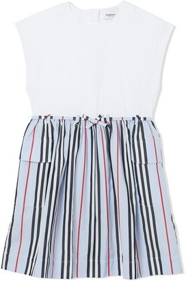 BURBERRY KIDS TEEN Icon stripe mini dress