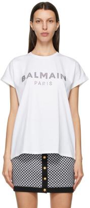 Balmain White Rhinestone Logo T-Shirt