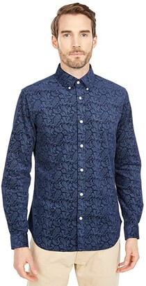 Ben Sherman Long Sleeve Paisley Shirt (Navy Blazer) Men's Clothing