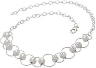 Lucy Ashton Jewellery Circle & Bead Choker Necklace Sterling Silver