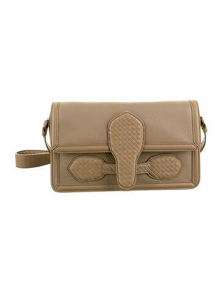 Bottega Veneta Intecciato-Trimmed Rialto Shoulder Bag Beige
